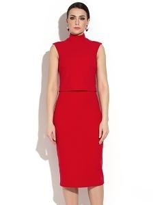 Красное платье с эффектом юбки и топа Donna Saggia DSP-268-29t