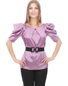 Сиреневая блузка из атласа