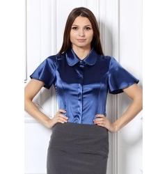 Атласная блуза синего цвета