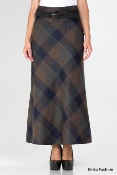 Длинная юбка в клетку Emka Fashion 314-laftiya