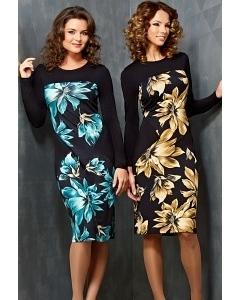 Черное платье с цветами TopDesign B3 103