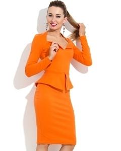Оранжевое платье с баской Donna Saggia DSP-107-51t
