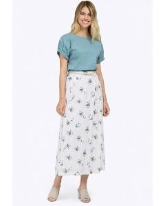Длинная белая юбка с цветочным орнаментом Emka S760/magnet