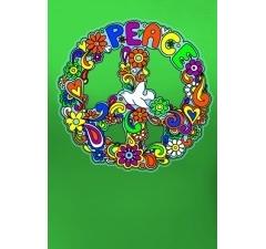 Зеленая футболка Peace (Светится в ультрафиолете)
