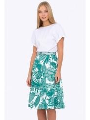 Летняя бело-зеленая юбка Emka 694-65/ansoniya
