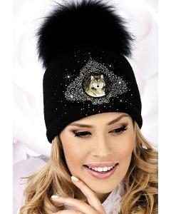 Женская шапка с вышивкой Волк Willi Valery