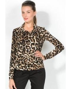 Леопардовая блузка с длинным рукавом