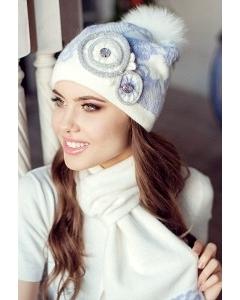 Комплект (шапка + шарф) Landre Бриджит (молоко/сиреневый)