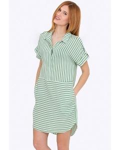 Платье-рубашка в бело-зелёную полоску Emka PL-508/gerbena