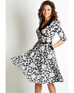 Чёрно-белое летнее платье TopDesign A6 158