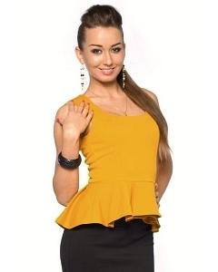 Блузка с баской горчичного цвета Donna Saggia DSB-18-5t