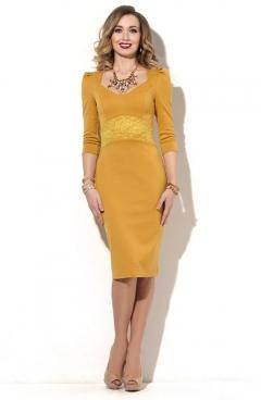 Платье-футляр горчичного цвета Donna Saggia DSP-181-5t