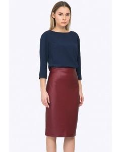Бордовая юбка из искусственной кожи Emka S770/malina