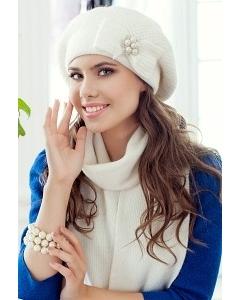 Комплект (шапка и шарф) молочного цвета Landre Серафима