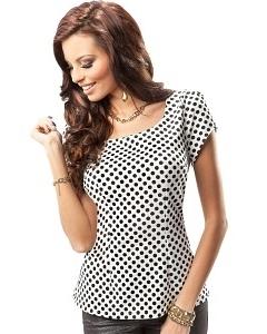 Белая блузка в черный горошек Enny 17050