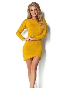 Жёлтое короткое платье из пряжи Fimfi I300