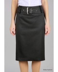 Черная прямая юбка с широким ремнем | 197-nobi