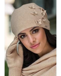 Трикотажная шапка бежевого цвета Kamea Matylda