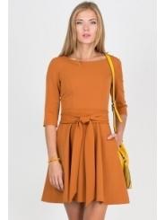 Летнее платье горчичного цвета Emka Fashion PL-411/sofi