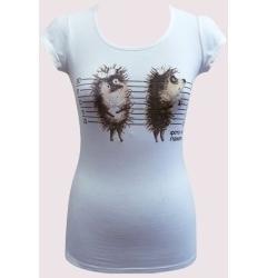 Женская футболка белого цвета Ёжики