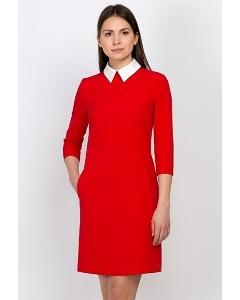 Красное платье с воротничком Emka Fashion PL-440/salli