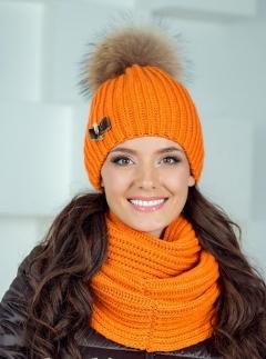 Яркая женская зимняя шапка с помпоном Landre Селия