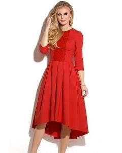 Красное платье с асимметричным низом Donna Saggia DSP-254-65
