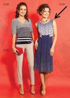 Синее платье в белый горох TopDesign A5 099