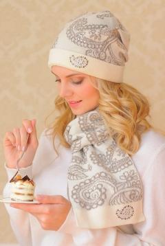 Комплект (шапка+шарф) Landre Вероника (молоко с бежевым)