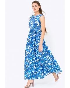 Длинное бело-синее платье из хлопка Emka PL-425/daysi