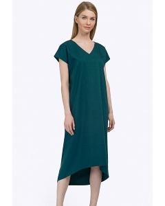 Тёмно-зелёное платье c асимметричным низом Emka PL789/iglesia
