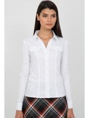 Белая женская рубашка Emka Fashion b 2104/dulma