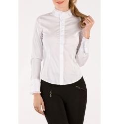 Белая блузка с высоким воротом