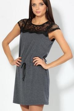 Короткое платье с черным кружевом   1650