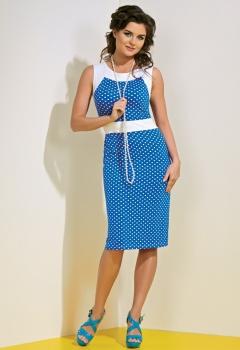 Голубое платье в горошек TopDesign A4 074