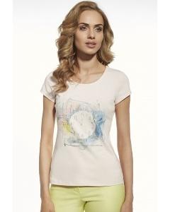 """Женская футболка с принтом """"Часы"""" Briana 8804"""