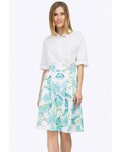 Летняя юбка-миди А-силуэта с широким поясом Emka S247/estetika