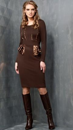 Стильное коричневое платье TopDesign B3 076