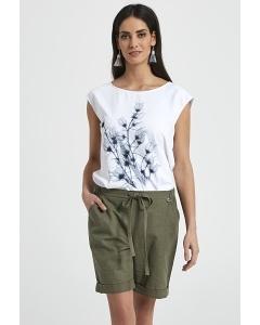 Летние льняные шорты цвета хаки Ennywear 250094