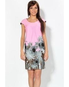 Розовое платье с серым принтом | 1684