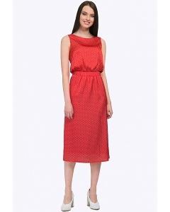 Красное в белый горох платье-миди без рукавов Emka PL792/rouge