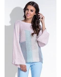Розовый женский свитер с рукавами кимоно Fobya F431