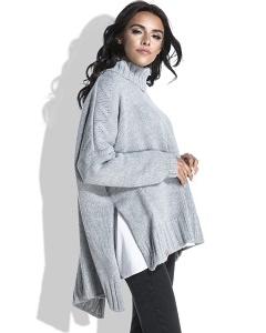 Свободный женский свитер серого цвета Fobya F455