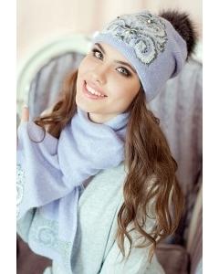Сиреневый комплект (шапка и шарф) Landre Сабина
