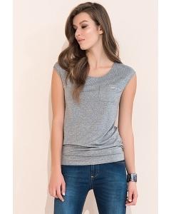 Летняя блузка со вставкой из сетки серого цвета Zaps Lonnie