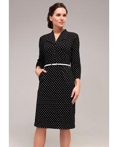 Чёрное платье в белый горох TopDesign B7 109