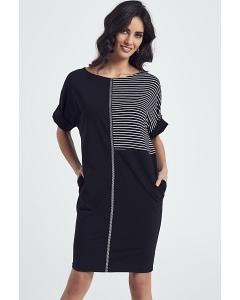 Чёрное трикотажное платье-футляр Enny 250028