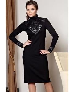 Черное платье с серебристым кружевом TopDesign premium | РВ2 37