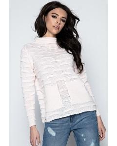 Женский розовый свитер Fobya F486
