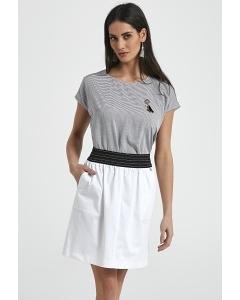 Летняя льняная юбка белого цвета Ennywear 250088